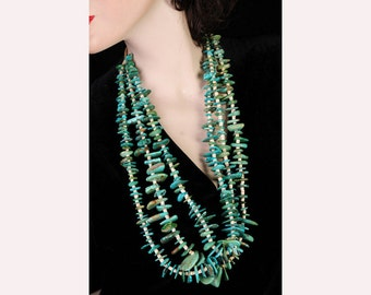 Turquoise Tab Necklace - Navajo Squaw Wrap -Antique Natural 3 Strand - Museum Piece