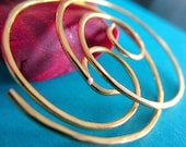 Small Hoop Earrings. THINNIER. Swirls. Hammered Surface. 20 gauge 24 karat gold plated wire