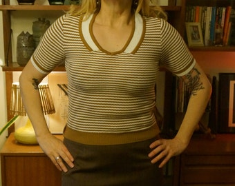 knit top sweater polo short sleeves jumper brown off white stripe mod rockabilly pin up vlv bombshell