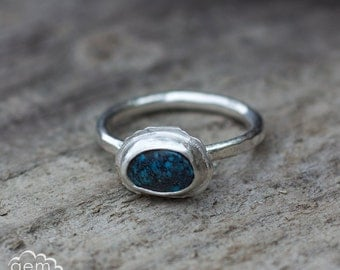 Morenci Turquoise sterling silver stacker ring - Day Dreamer 2-