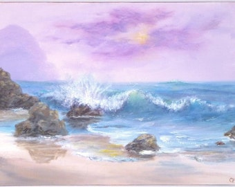 Beach ocean wave painting, 18x24 large pastel colored beach om aqua and purple, Acrylic Original Painting