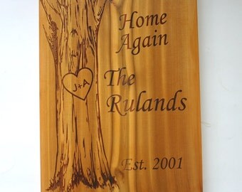 Personalized Cedar Sign Laser Engraved Wood Family Sign Custom Engraved