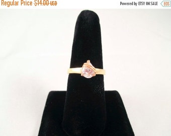 Summer Clear Out SALE Gold Ring with Large faux Diamond Stone SIze 9 tear drop