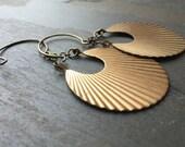 PLEATS-Bohemian Pleated Brass Crescent Medallion Earrings