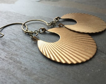 PLEATS-Bohemian Pleated Brass Crescent Medallion Earrings