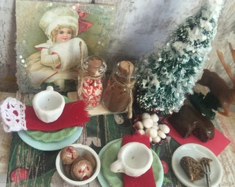 Miniature Winter Dessert Prep Board1 1:12 scale Dollhouse Miniature
