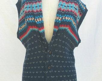 Vintage 80's Fair Isle Folk Sweater Vest