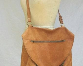 Extra Large Handmade Leather Messenger Bag // 1970s Vintage