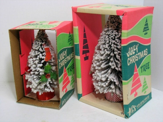 2 vintage Jolly Barrel Christmas Trees in Original Boxes, Bottle Brush Tree large Size Frosted Xmas Trees Holiday House