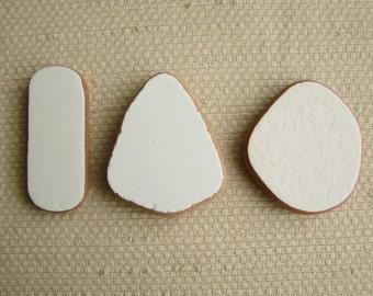 3 Whopper White Glazed Terracotta Tile Shards -- Very large Pendant Sizes (TL167) Mediterranean Beach Tiles, Statement tiles, Blank canvas