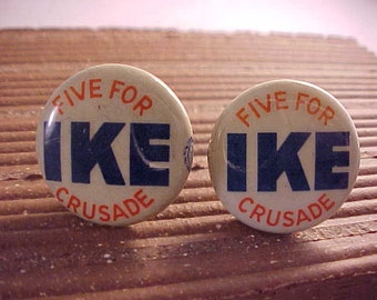 Cuff Links Eisenhower Vintage Political Campaign Buttons - Free Shipping to USA