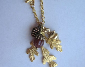 Oak Leaf Jewelry, Acorn Necklace, Natural Jewelry, Autumn Leaves, Fall Fashion Accessories, Acorn Necklace, Leaf Necklace, Oak Leaf Necklace