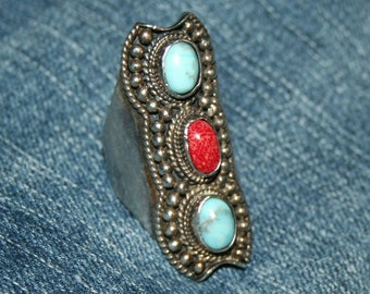 Vintage Native American Ring .925 Silver Turquoise Coral Statement Size 8