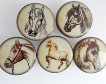 Vintage Horse Knobs, Wooden Horse Illustration Knobs, Horse Drawer Knobs, Horse Pulls, - Wood Knobs- 1 1/2 Inches - Made to order