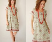 SALE SALE India Sari Dress Vintage Pale Sage Autumn Vines Draped Boho India Dress (s m)