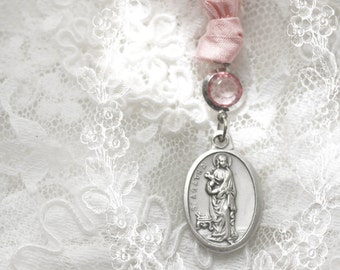 Saint Agatha -  patroness of breast cancer silk prayer ribbon - retiring design - last few available - special price