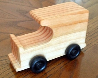 Handmade Wooden Waldorf Delivery Van, Veteran Made in USA Wooden Toy Car,  Wooden Car Ideal Birthday gift for Children and Toddlers