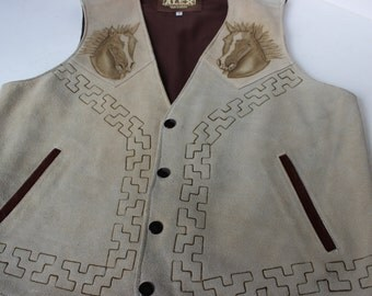 Mens Alex Suede Leather Vest Size 40 Embossed with Horses Snap Front Slash Pockets