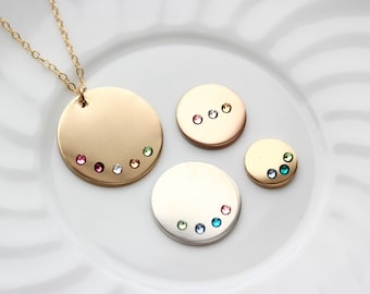 Disc Necklace with Birthstones - Personalized Birthstone Necklace, Mother's Day Gift, Gift for Mom, Birthstone Necklace, Children Necklace