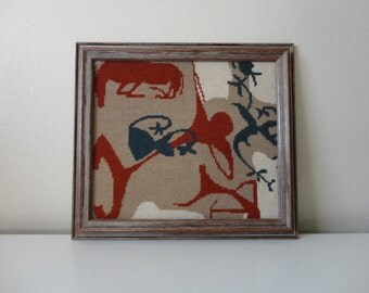 VINTAGE framed cave art style NEEDLEPOINT