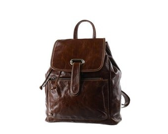SALE - Brown Leather Backpack, Large, Women Backpack, Rucksack, artoncrafts