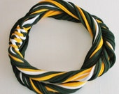 T Shirt Scarf - Infinity Circle Scarves Recycled Cotton - Dark Hunter Forest Green Yellow Gold White Green Bay Packers Necklace Casual