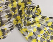 Hand Painted Silk Scarf - Handpainted Scarves Yellow Charcoal Dark Gray Light Grey Black Lemon Sun Bumblebee Bumble Bee Tie Dyed White