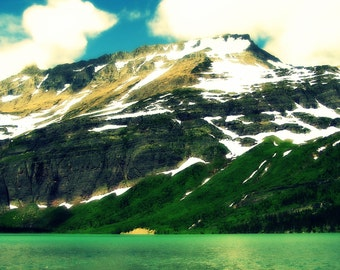 Digital Download Photography...Mountain in Glacier National Park...printable..mountain lake..wall art...nature...green..outdoors