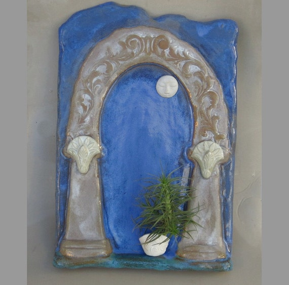 Blue Ceramic Tile - Full Moon Art - Large Wall Hanging - Original Folk Art Sculpture