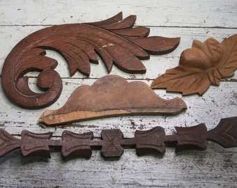 Wooden Furniture Parts- Vintage Wood Architectural Salvage Lot- Furniture Wood Molding