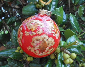 Pressed Flower SPIREA & SALVIA ORNAMENT Christmas Tree Pretty, Painted Red Glass, Fairy Luster Glitter, Handmade Home Grown Gardener Gift