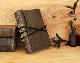 Handmade Journal, FREE MONOGRAMMING, Grey Leather with White or Antiqued Pages