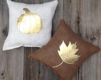 Autumn Pillow, Burlap Pillow, Holiday Decor, Fall Pillow, Brown Pillow, Burlap Pillow, Pumpkin Pillow, Cushion,Home Decor, Decorative Pillow