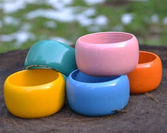 Set of 5 Colorful Wooden Napkin Rings