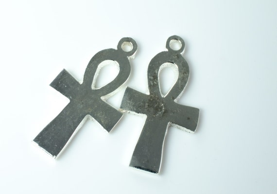 Silver Plate Ankh Pendant Pair