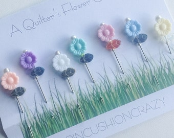 Quilting Sewing Pins - Decorative Sewing Pins - Gift for Mom - Sewer Gift - Sewing Accessory - Pincushion Pins  - Quilter's Flower Garden