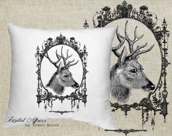 Digital Download Wild Life Collection Vintage Chic Deer Black & White Image For Papercrafts, Transfer, Pillows, Totes, Etc va030