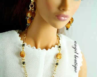 """Delicate Long Necklace Links with Glass Beads fits 12 and 16"""" dolls. Set Completes with Matching Earrings."""