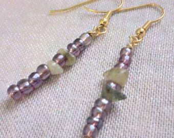 Math Jewelry - Pi Earrings - Mathart STEM Sciart Pi Jewelry - Math Teacher Graduation Gift - Purple Glass Peridot