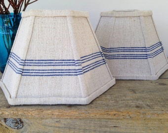 Nautical Blue Lamp Shade, Stripe Lampshade in Vintage Grain Sack Fabric, Beach Decor, 5x10x7 Clip Top - New Pattern for Shop!