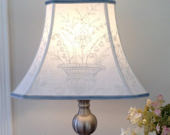 """Floral Embroidery Rectangle Lamp Shade, Lampshade Vintage Textile Cut Corner Bell - 8""""x16""""x12"""" high, Natural Linen - Folk Art Textile"""