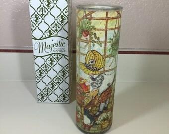 Vintage 70s Holly Hobbie Majestic Glittle Cylinder Glass Candleholder