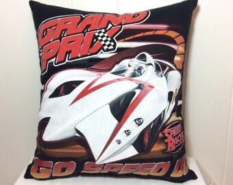 Decorative Pillow, Couch Pillow, Throw Pillow, Bed Pillow, Decorative Bed Pillow, Speed Racer, Black Pillow, Gift Idea, Accent Pillow