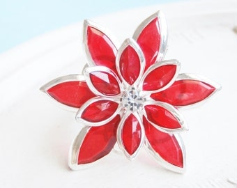 Poinsettia Ring - Pretty Poinsettia Holiday Ring - Ruby