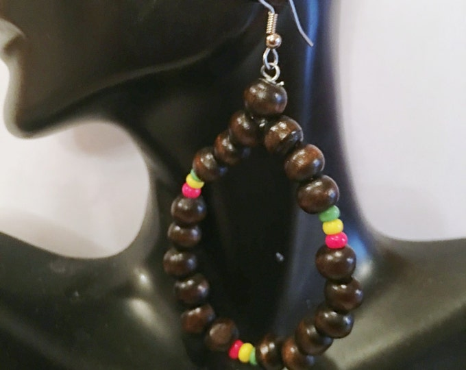 Featured listing image: Afrocentric Wood  Hoop Earrings African Inspired Earrings -