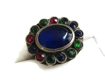 Vintage Antique Cobalt Blue Glass Cabochon and Red, Green and Blue Paste Rhinestones Ring Size 7