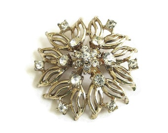 Vintage Gold Tone Open Work Rhinestone Brooch or Pin