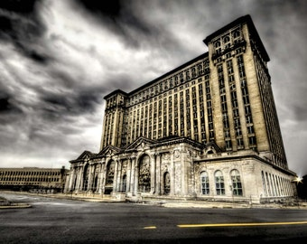 """Photography of Detroit, abandoned building, cityscape neo-classic architecture, fine art photograph """"Michigan Central Station"""""""