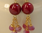 CUSTOM RESERVE ORDER Marianne Vintage Red Chalcedony Bead Dangle Earrings, Vintage German Give beads, Gold Chain, Bali 24K gold ear wires
