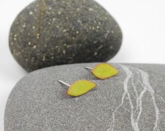 Tiny Leaves-- Enameled Stud Earrings in Lime Green